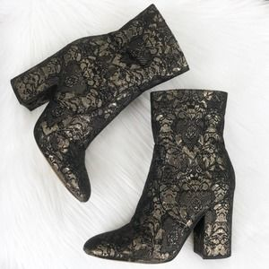 MARC FISHER Newbia Black Floral Brocade Bootie 6.5